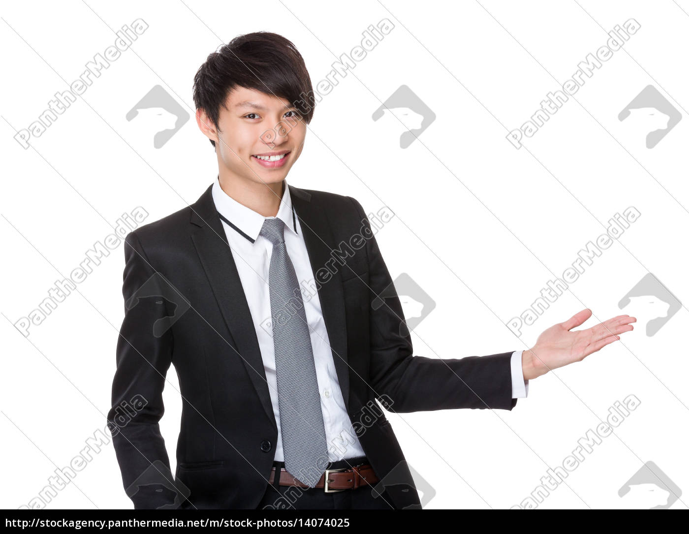 asian, businessman, with, open, hand, palm - 14074025