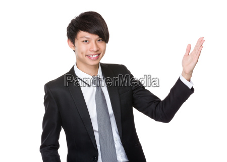 businessman, with, hand, presentation - 14074029