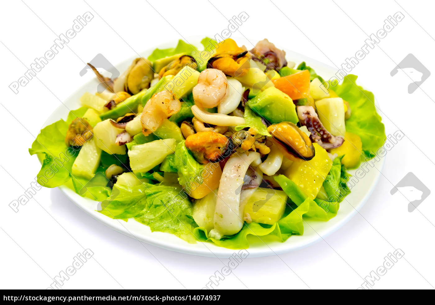 salad, seafood, and, avocado, in, plate - 14074937