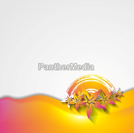 abstract wavy colorful flowers design