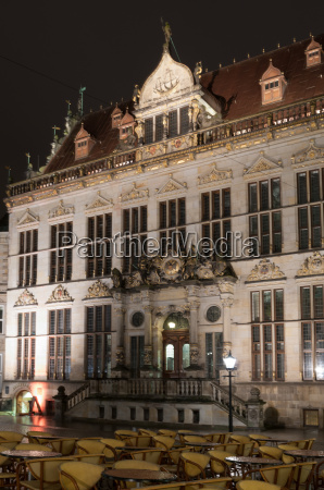 bremen town hall at night