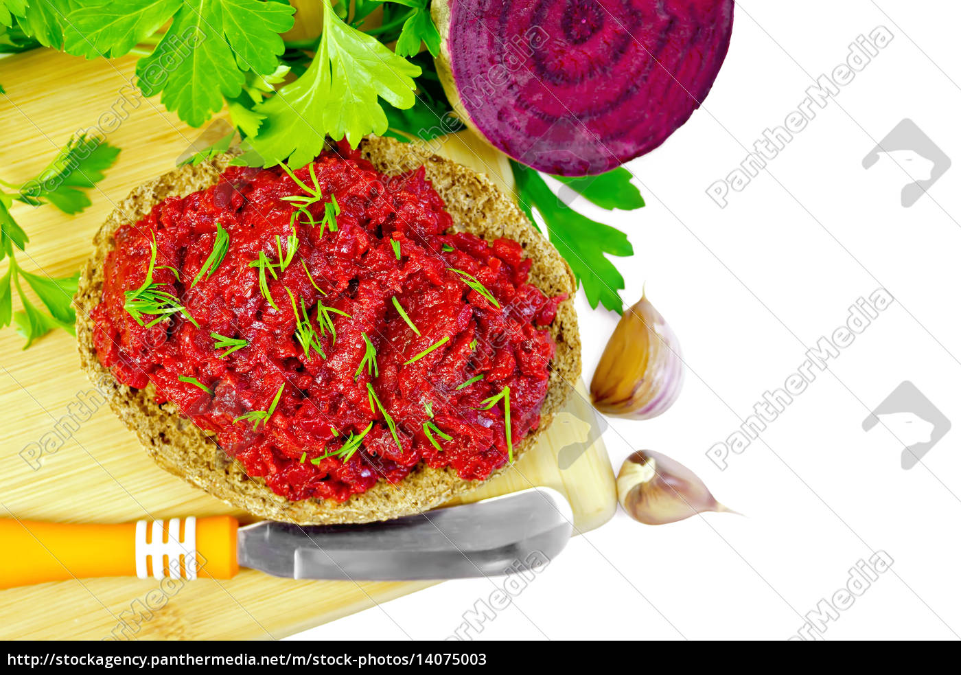 sandwich, with, beet, caviar, and, knife - 14075003