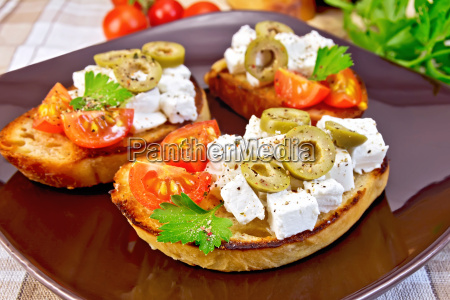 sandwich, with, feta, and, olives, on - 14075073