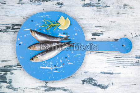 fresh anchovy fish on white and