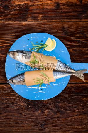 delicious, fresh, mackerel, fish, on, wooden - 14076583