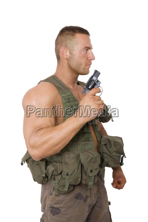 soldier, with, gun, isolated, on, white. - 14076697