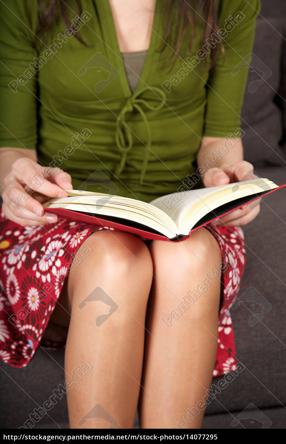 red, book, over, woman, knees - 14077295