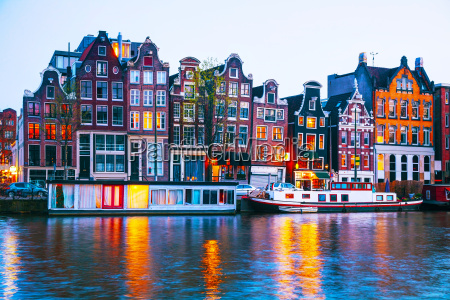 night city view of amsterdam the