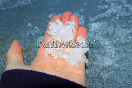 when a thunderstorm covered small hailstones
