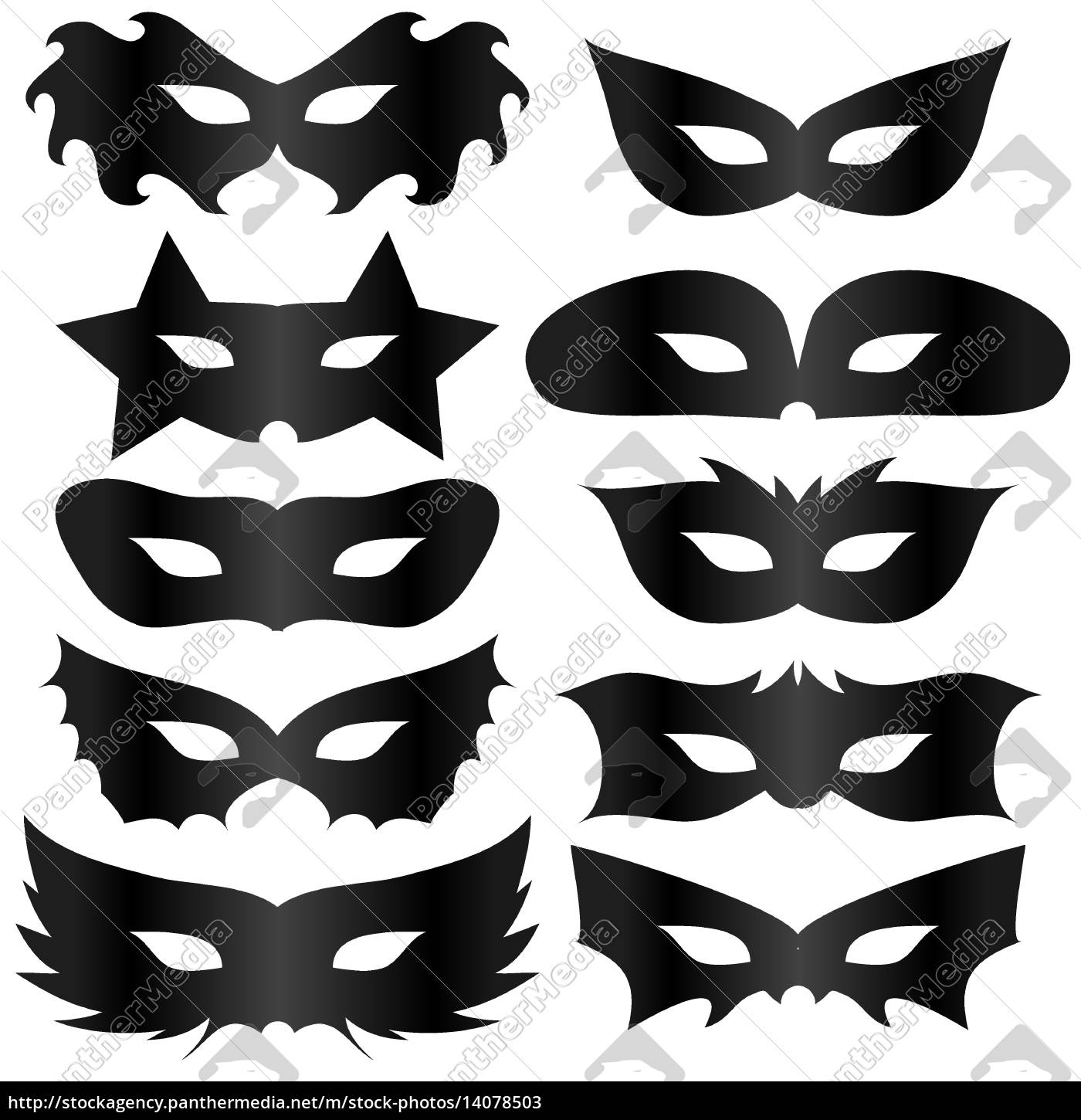 , black, silhouettes, masks, collection, isolated - 14078503