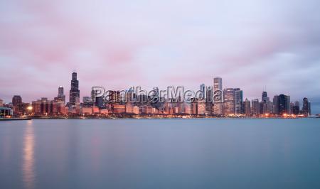 sunrise, color, sky, lake, michigan, chicago - 14078455