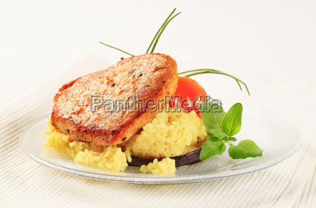 marinated pork with couscous
