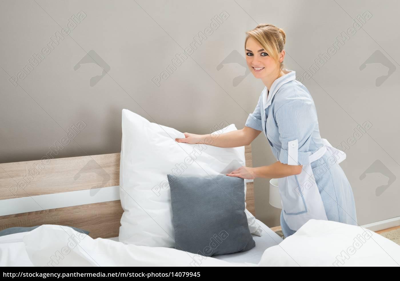 housekeeping, worker, arranging, pillow - 14079945