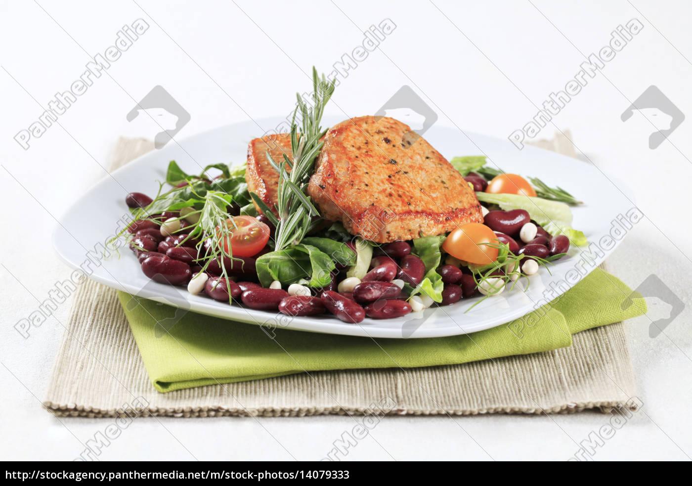 marinated, pork, and, red, bean, salad - 14079333