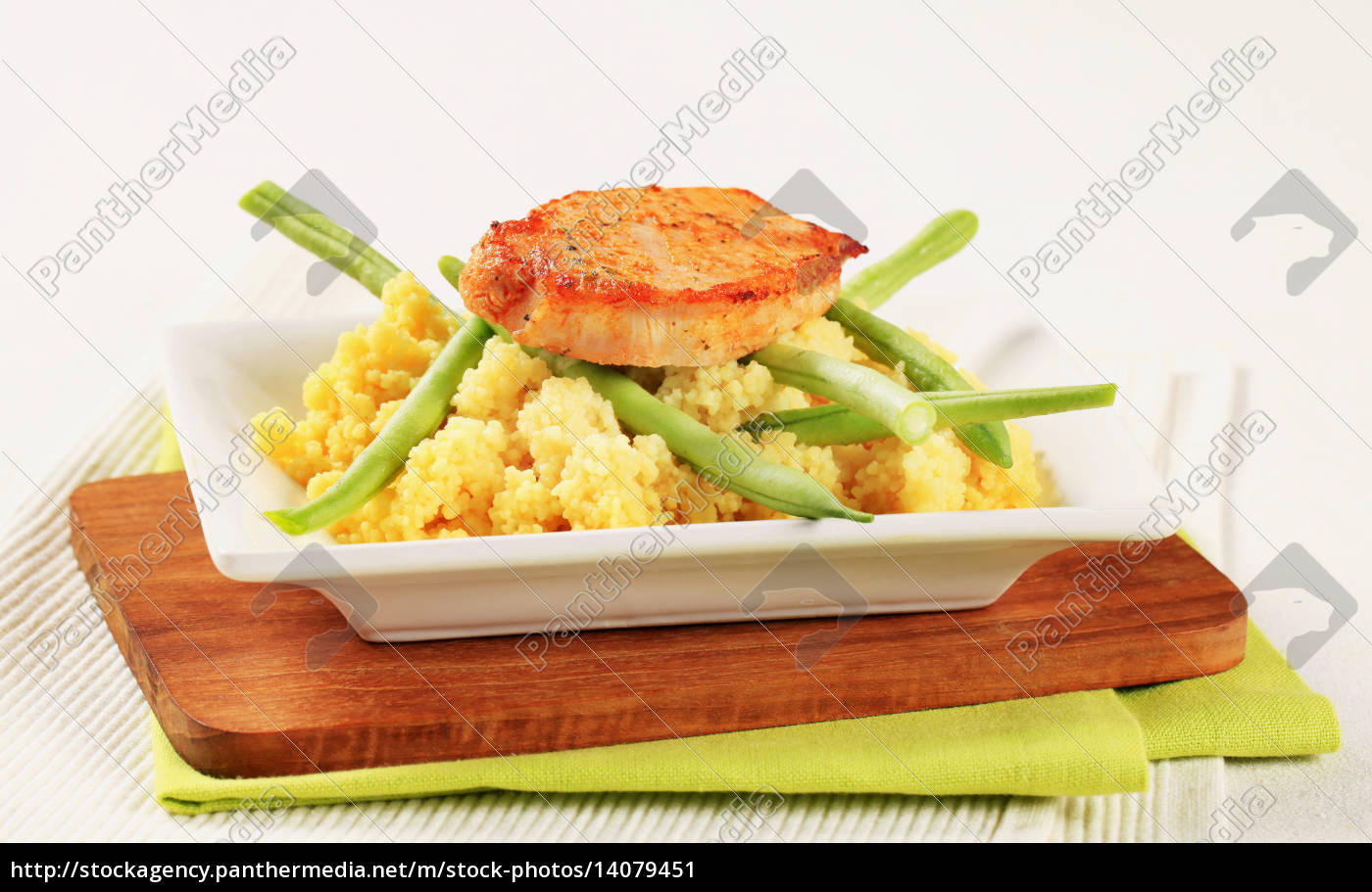 marinated, pork, with, couscous, and, green - 14079451