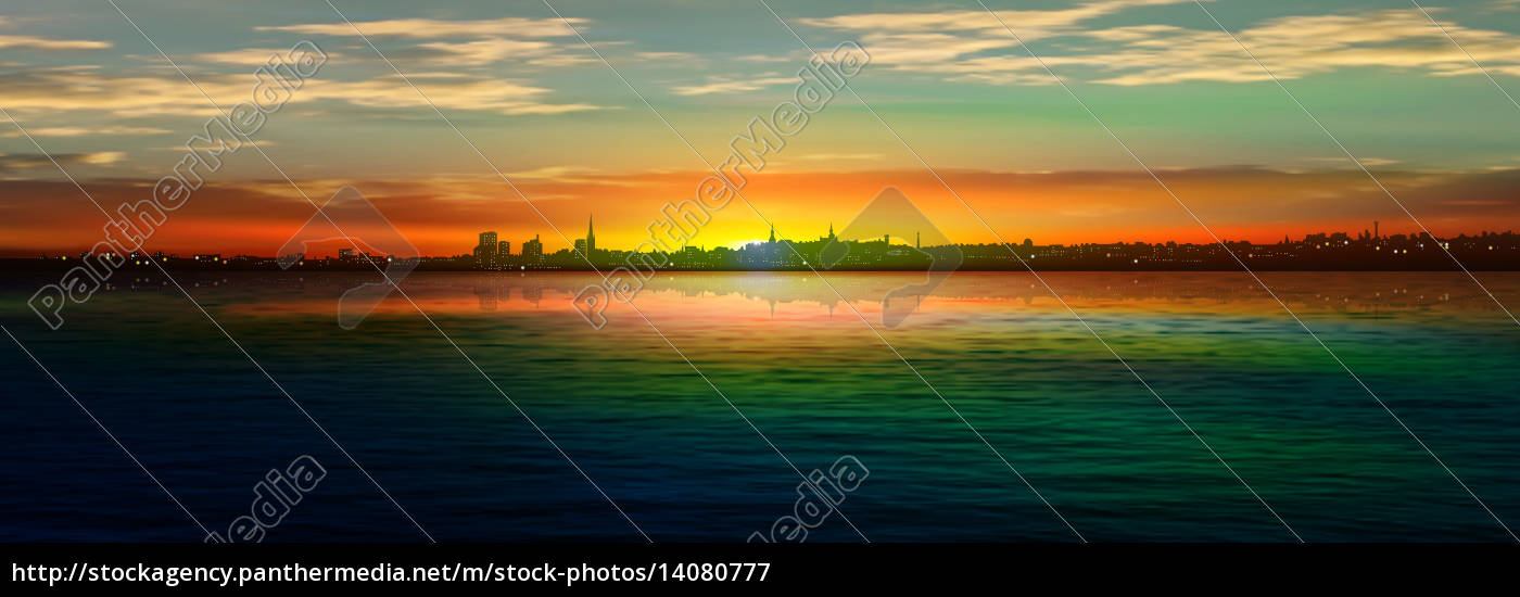 abstract, background, with, silhouette, of, city - 14080777