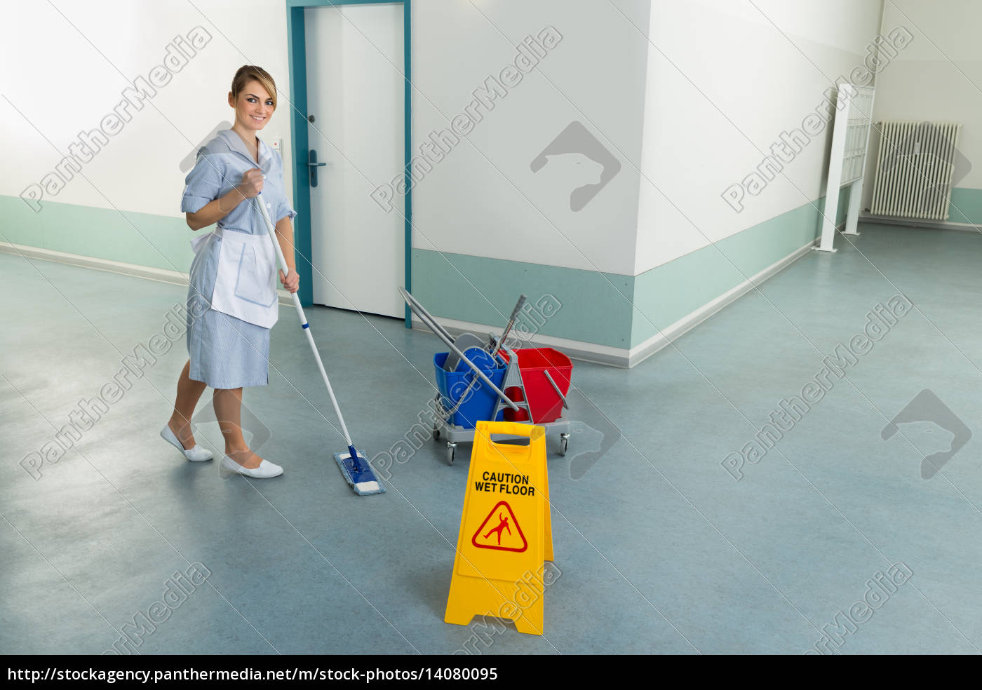 female, janitor, cleaning, floor - 14080095