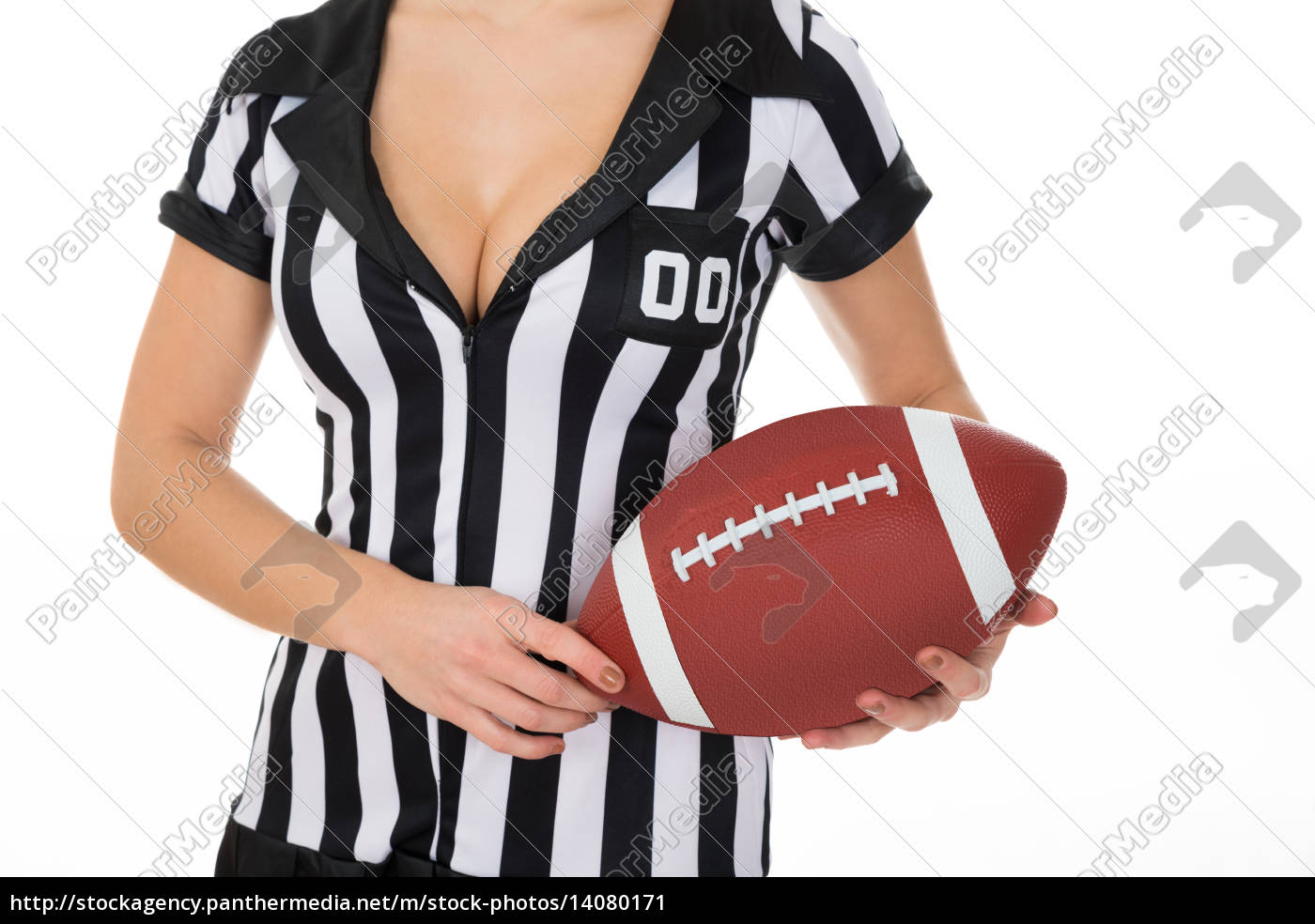 female, referee, holding, american, football - 14080171