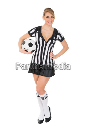 female, referee, holding, football, in, hand - 14080189