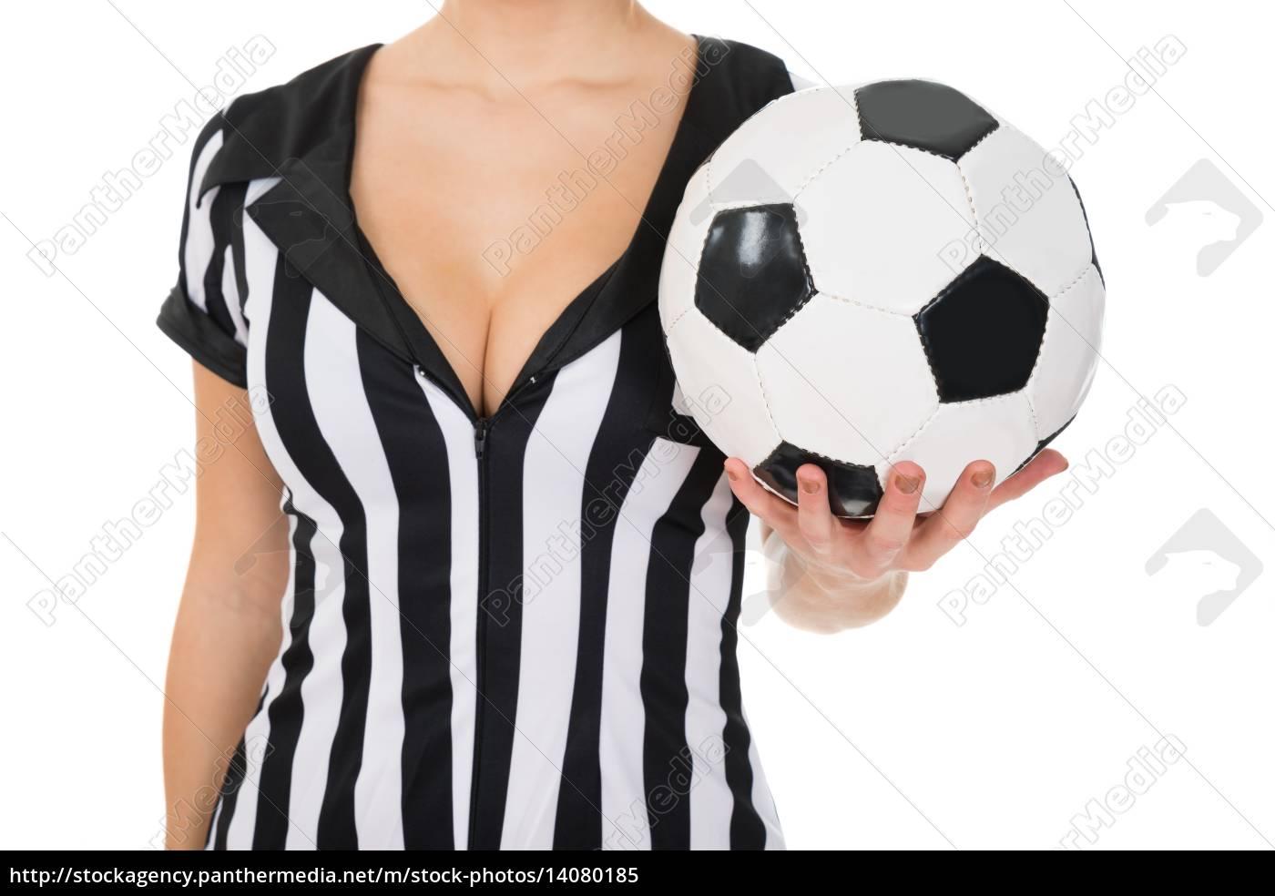 female, referee, holding, football - 14080185