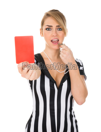 female, referee, holding, red, card - 14080141