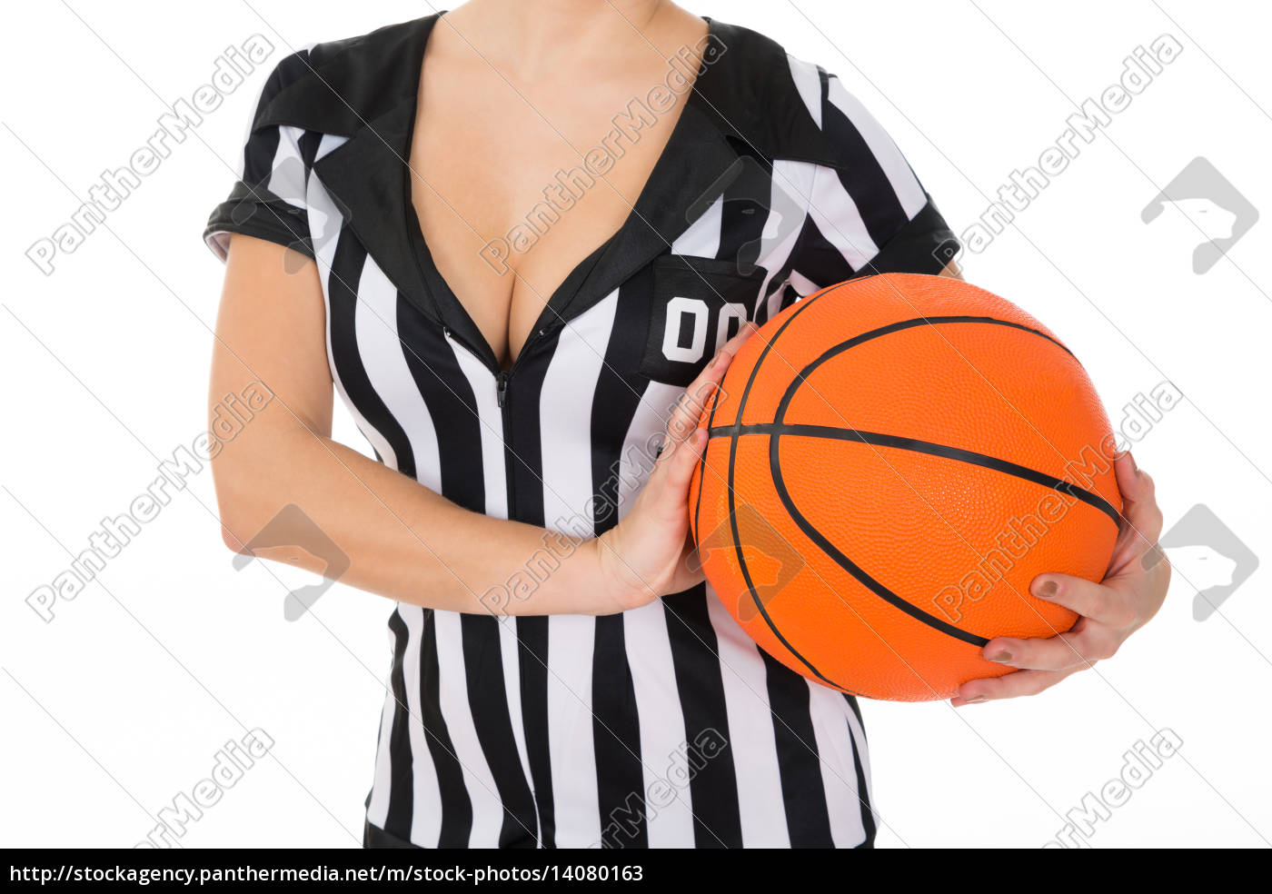 female, referee, with, basketball - 14080163