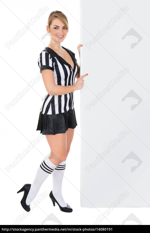 female, referee, with, billboard - 14080191