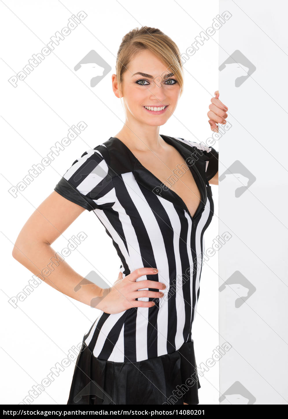 female, referee, with, billboard - 14080201