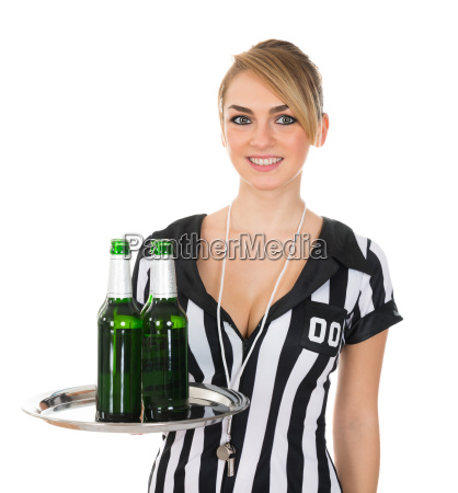 female, referee, with, drinks, on, tray - 14080119