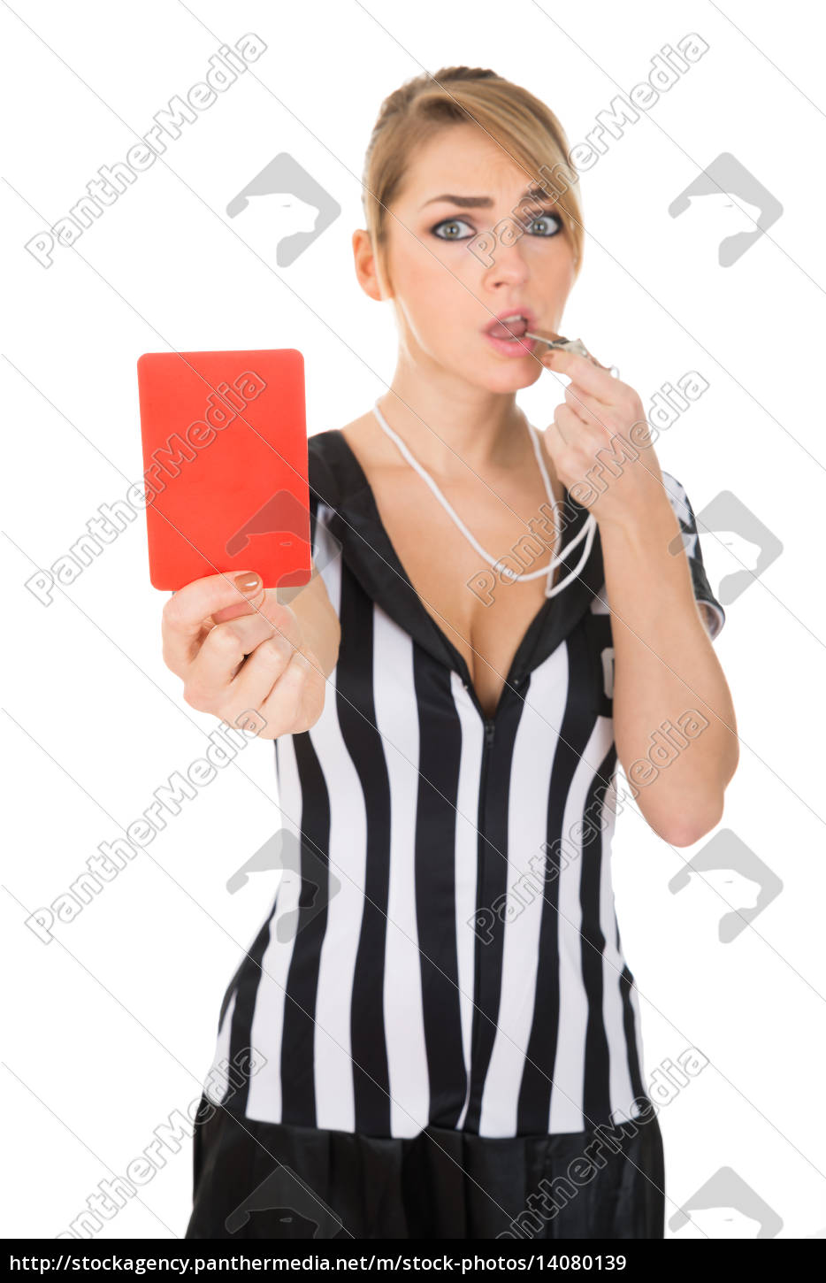female, referee, with, red, card, and - 14080139