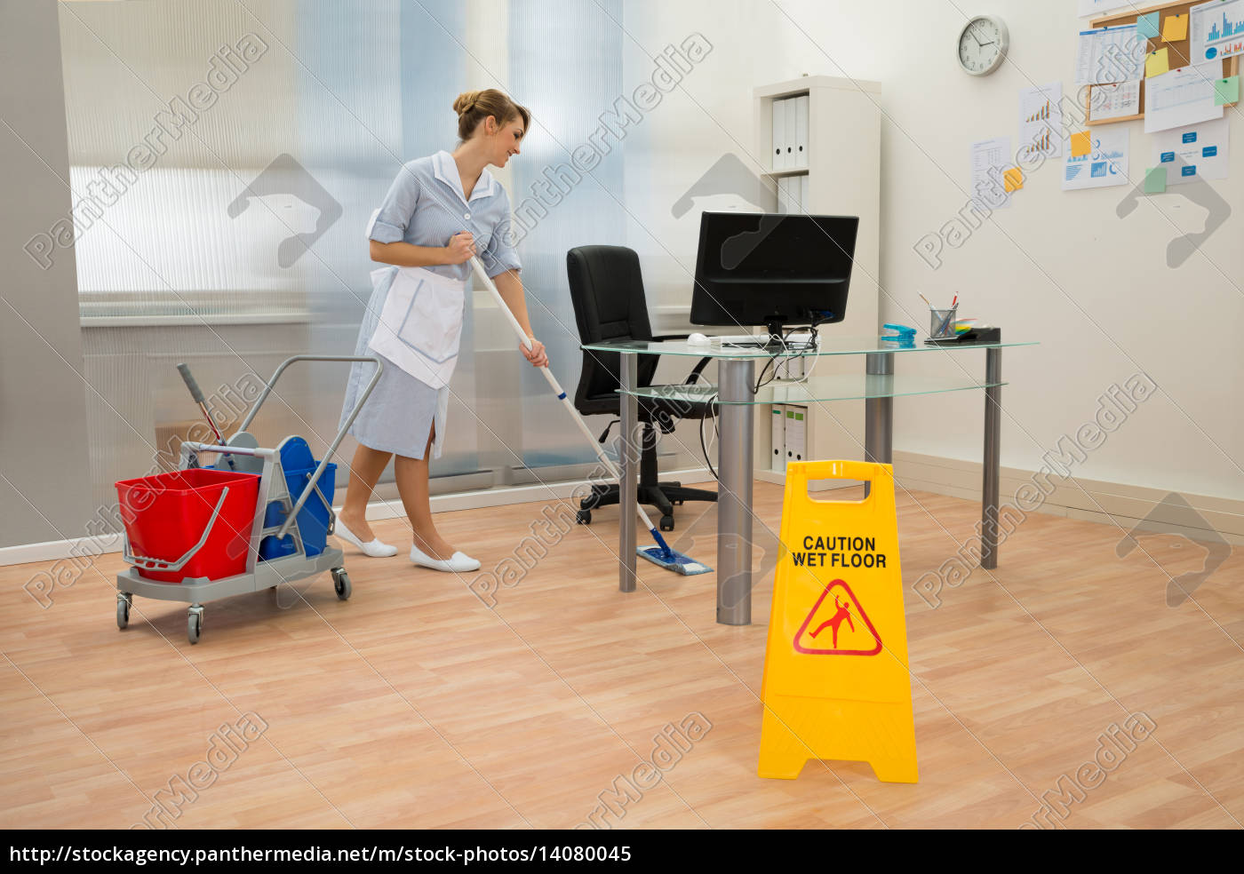 maid, cleaning, floor, in, office - 14080045