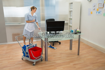 maid, with, mop, in, office - 14080051