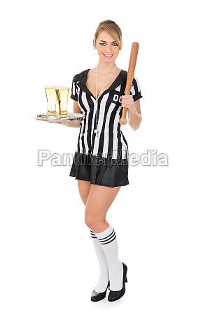 referee, holding, beer, and, baseball, bat - 14080135