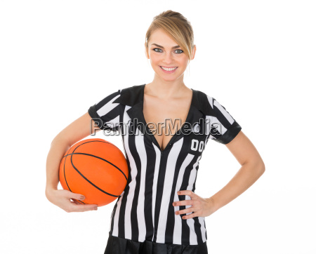 referee, with, orange, basketball - 14080193