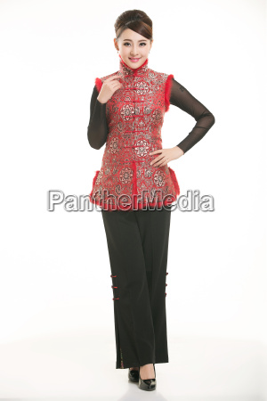 service staff, cotton wadded short gown, cotton wadded undercoat, cottonpadded jacket, greet guests, traditional chinese garments - 14081253