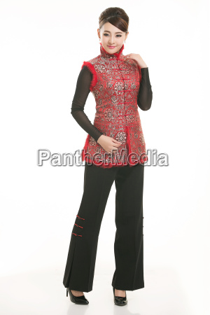 service staff, cotton wadded short gown, cotton wadded undercoat, cottonpadded jacket, greet guests, traditional chinese garments - 14081269