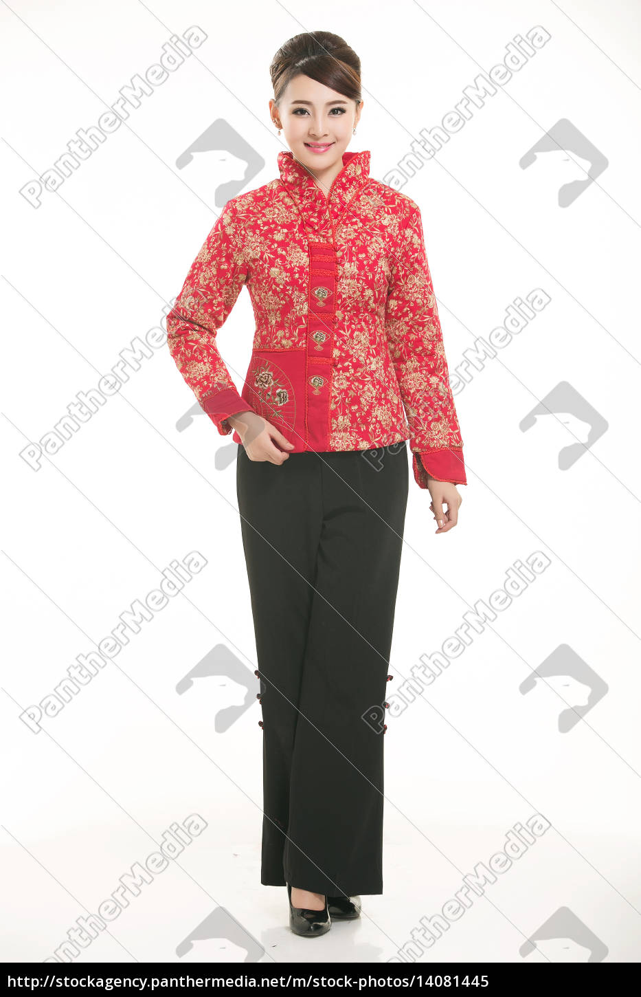 service staff, cotton wadded short gown, cotton wadded undercoat, cottonpadded jacket, greet guests, traditional chinese garments - 14081445