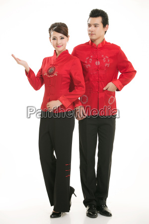 service staff, cotton wadded short gown, cotton wadded undercoat, cottonpadded jacket, greet guests, traditional chinese garments - 14081967