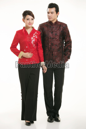 wearing, chinese, clothing, waiter, in, front - 14081211