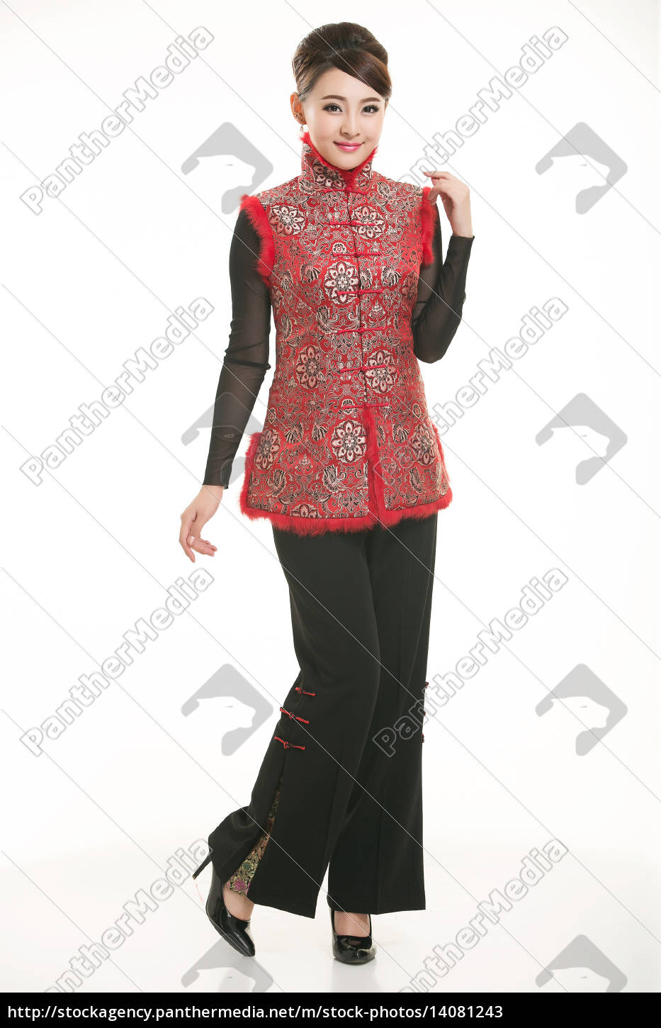wearing, chinese, clothing, waiter, in, front - 14081243