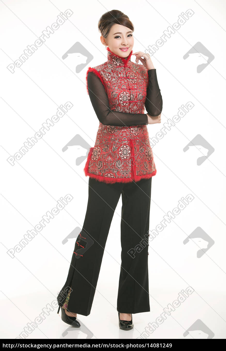 wearing, chinese, clothing, waiter, in, front - 14081249