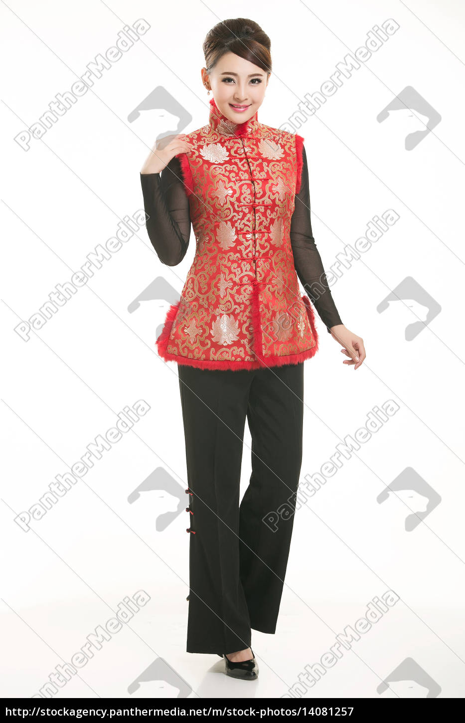 wearing, chinese, clothing, waiter, in, front - 14081257