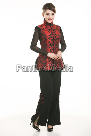 wearing, chinese, clothing, waiter, in, front - 14081289