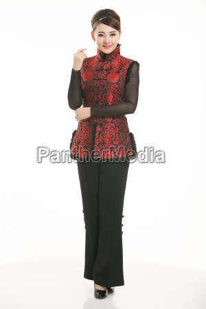 wearing, chinese, clothing, waiter, in, front - 14081293