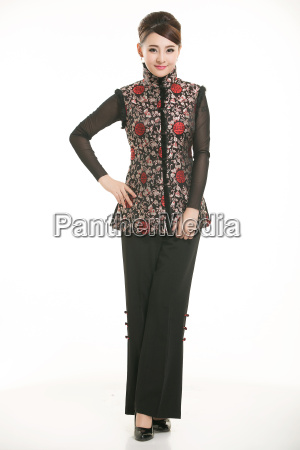 wearing, chinese, clothing, waiter, in, front - 14081333