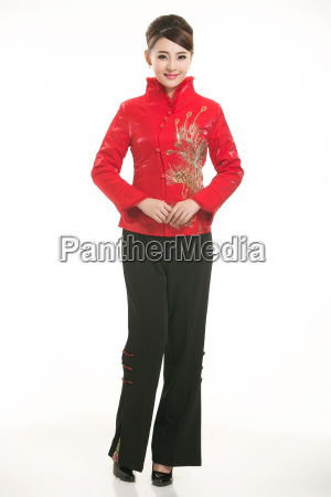 wearing, chinese, clothing, waiter, in, front - 14081357