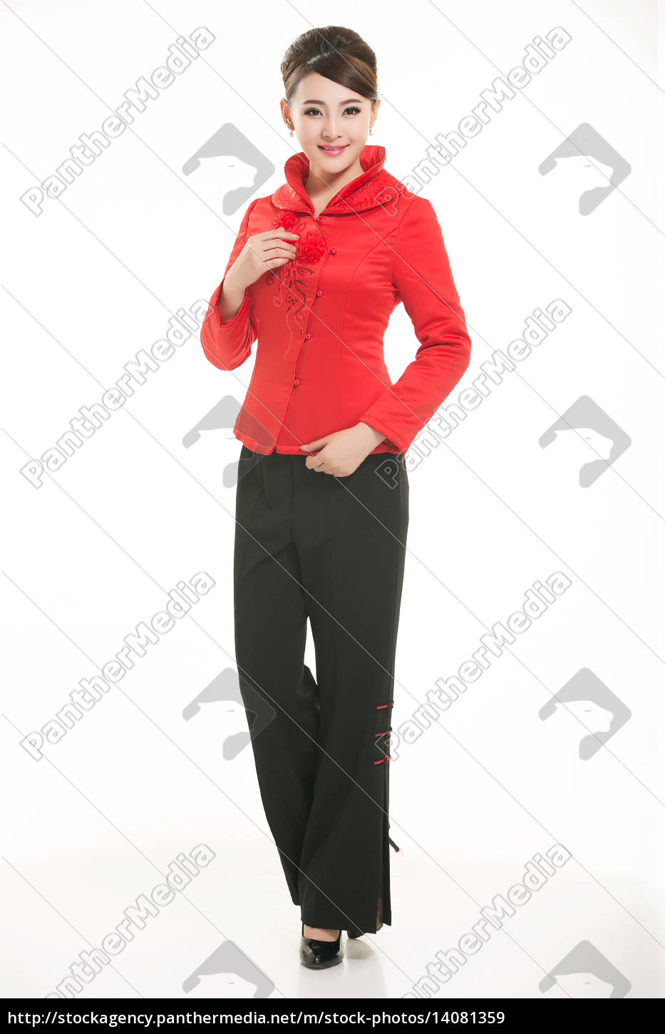 wearing, chinese, clothing, waiter, in, front - 14081359