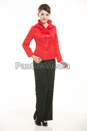 wearing, chinese, clothing, waiter, in, front - 14081363