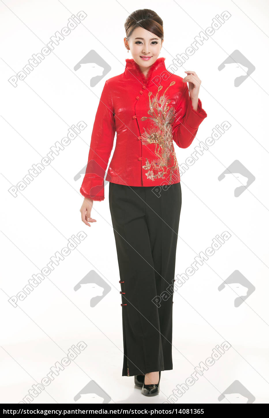 wearing, chinese, clothing, waiter, in, front - 14081365