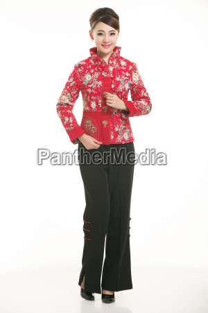 wearing, chinese, clothing, waiter, in, front - 14081379